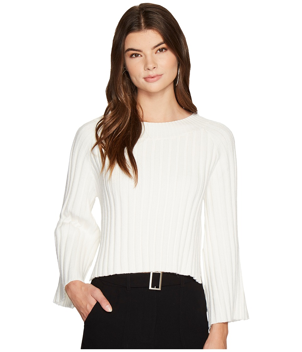 J.O.A. - Side Slit Flare Sleeve Sweater (White) Womens Sweater