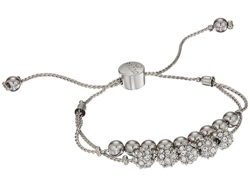 GUESS - Double Row Round Bead and Fireball Slider Bracelet (Silver/Crystal/Blue) Bracelet