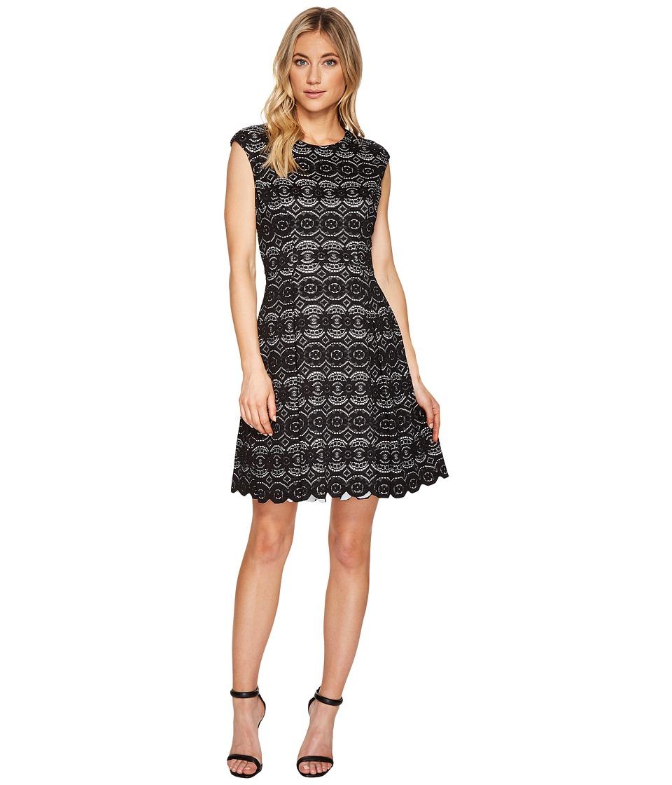 Vince Camuto Bonded Lace Fit Flare Dress (Black) Women