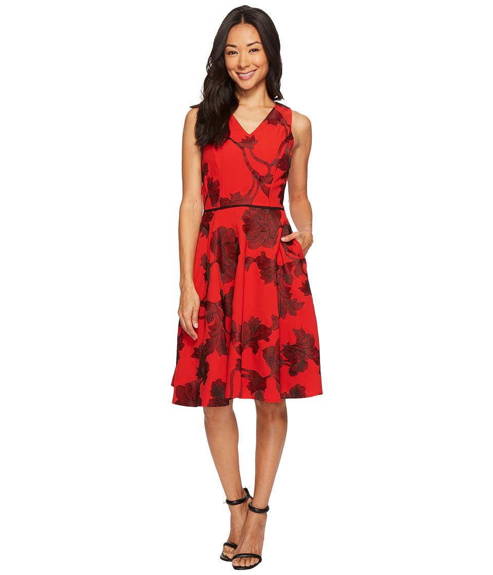 Tahari by ASL Petite Embroidered Tea Length Fit-and-Flare Dress (Vermillion/Black) Women