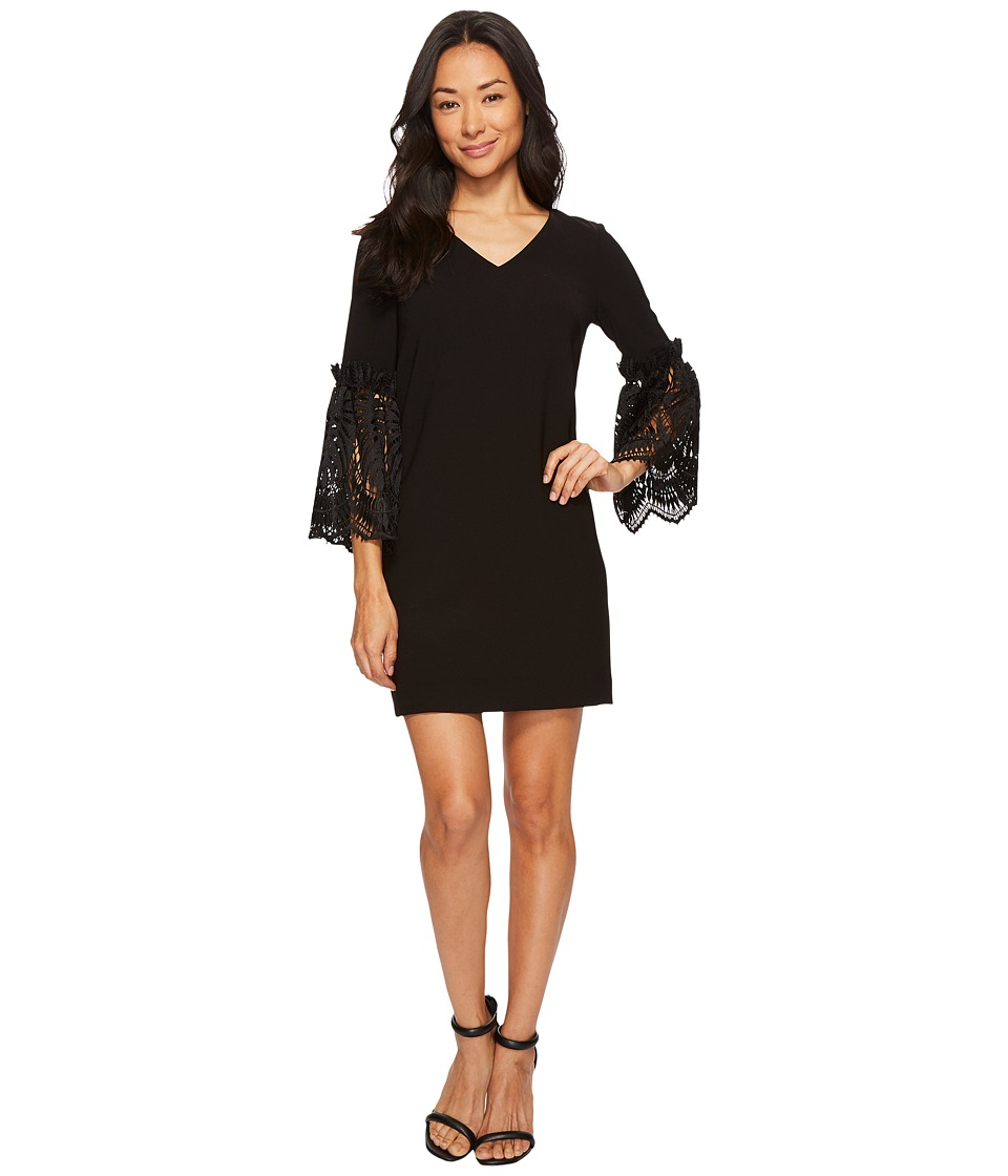 Tahari by ASL - Petite Lace Bell Sleeve Shift (Black) Wom...