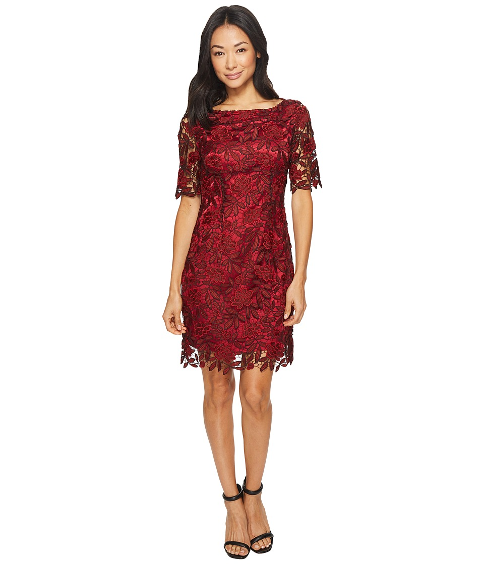 Tahari by ASL Petite Petite Sleeved Chemical Lace Sheath Dress (Merlot/Wine/Cherry) Women