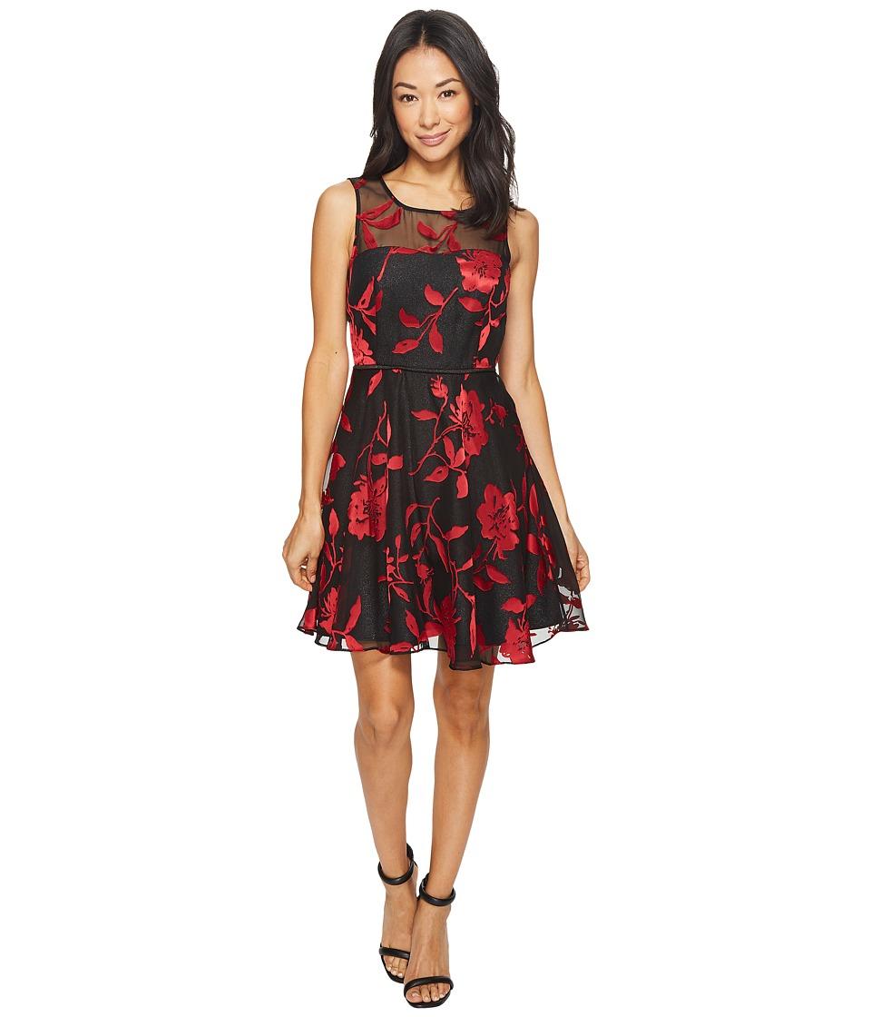 Tahari by ASL Petite Petite Burnout Floral Party Dress (Black/Claret/Silver) Women