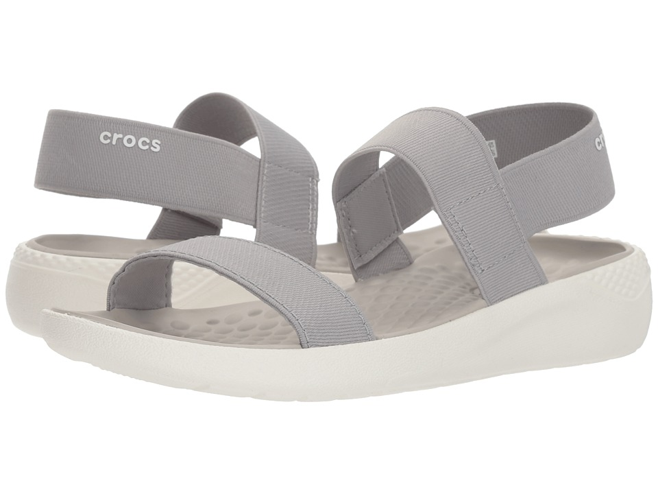 Crocs - LiteRide Sandal (Light Grey/White) Womens  Shoes
