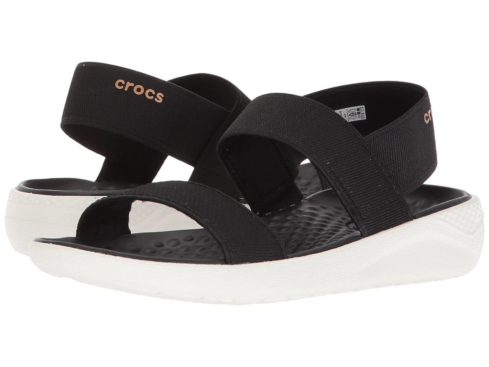 Crocs LiteRide Sandal (Black/White) Women's Shoes