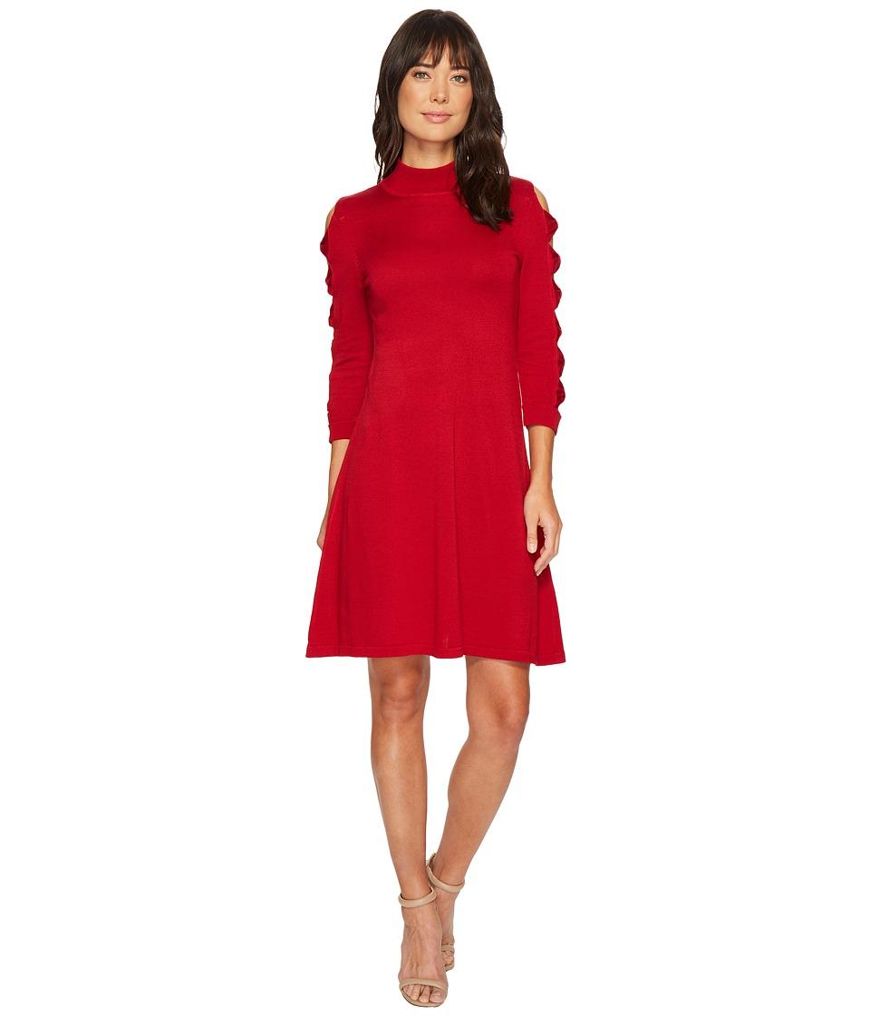 CeCe - Bow Sleeve Mock Neck Sweater Dress