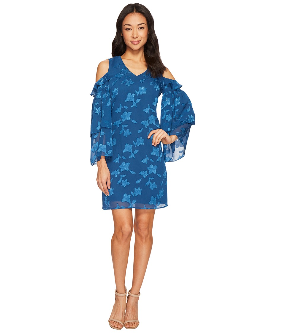 CeCe - Cold Shoulder Tiered Ruffle Sleeve Textured Dress