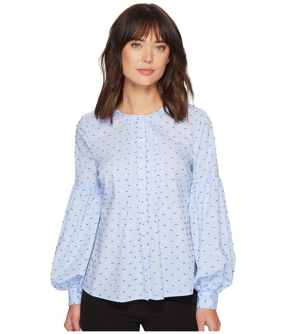 Victorian Blouses, Tops, Shirts, Vests CeCe - Bubble Sleeve Mini Check Pintuck Blouse Bluebird Womens Blouse $62.99 AT vintagedancer.com