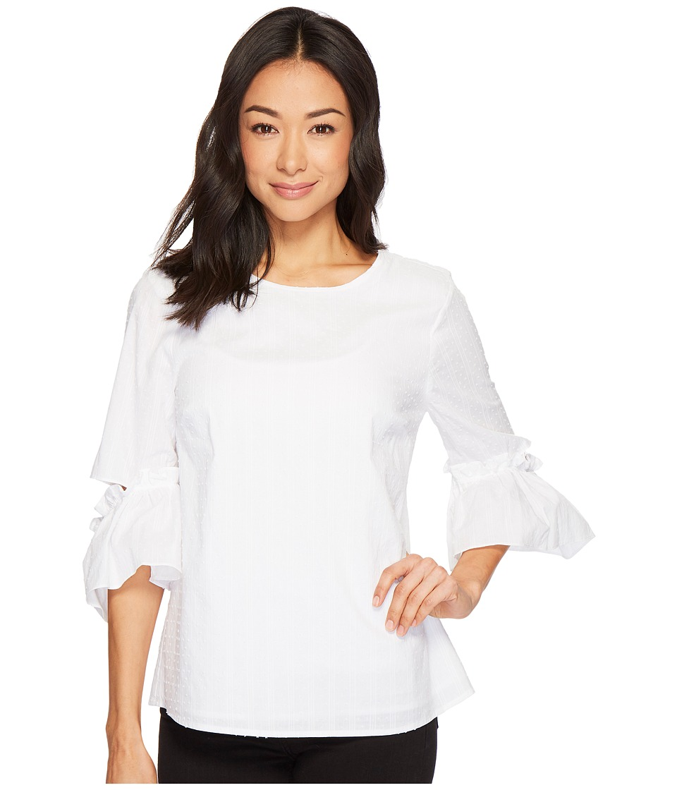 CeCe - 3/4 Flared Sleeve Textured Blouse