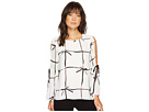 CeCe Bell Sleeve Lattice Ribbons Blouse w/ Bows