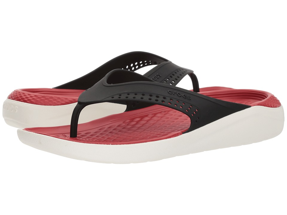 Crocs - LiteRide Flip (Black/White) Shoes