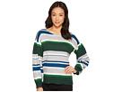 CeCe Jersey Stripe Balloon Sleeve Striped Sweater