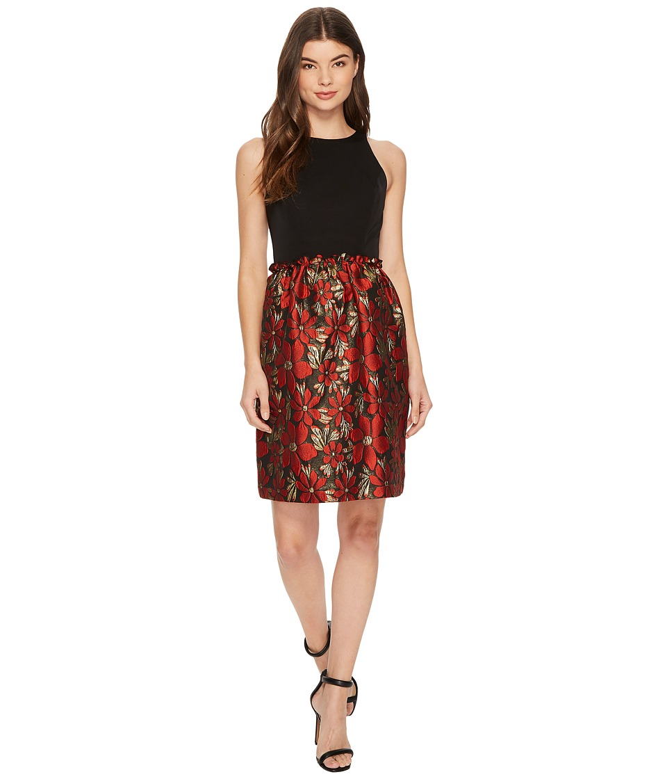 Tahari by ASL Fit and Flare with Metallic Skirt (Black/Red/Gold) Women