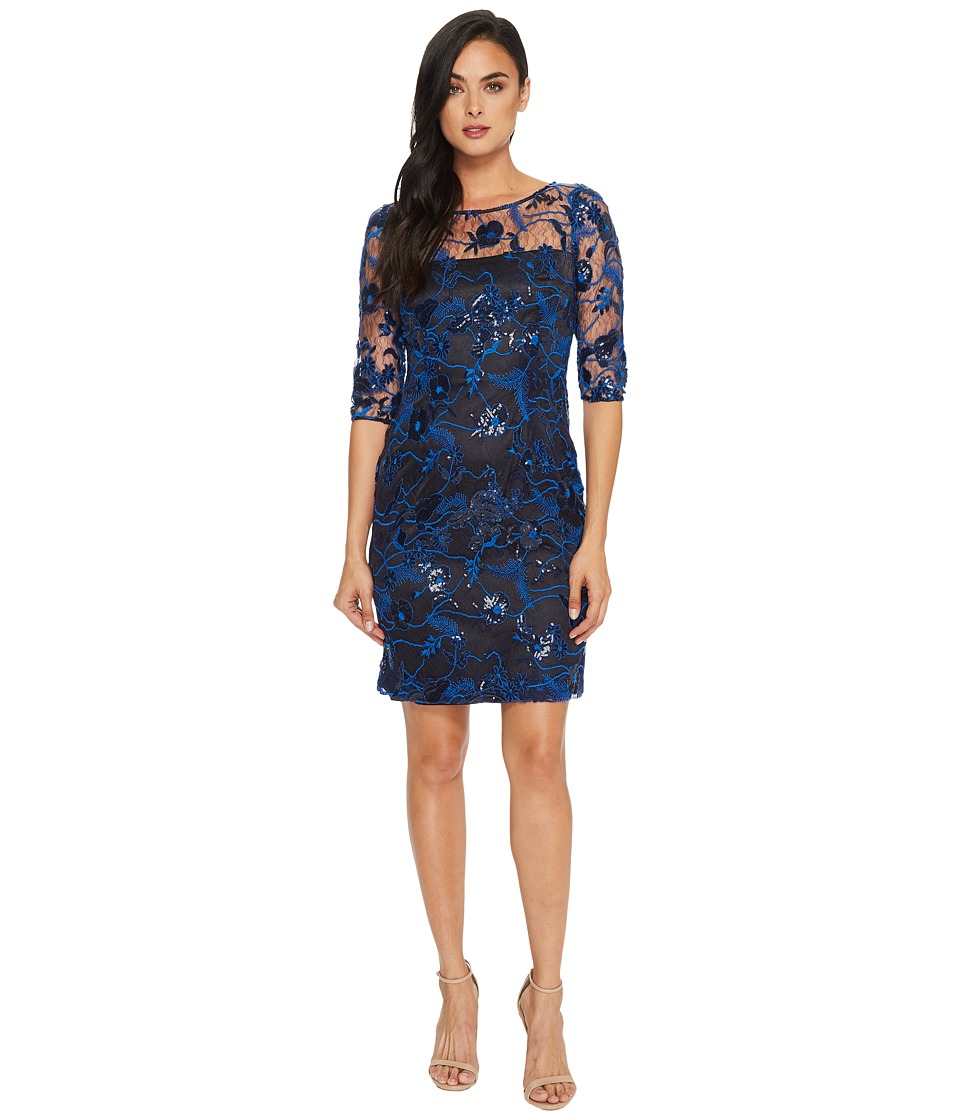 Tahari by ASL - Embroidered Mesh Sheath Dress
