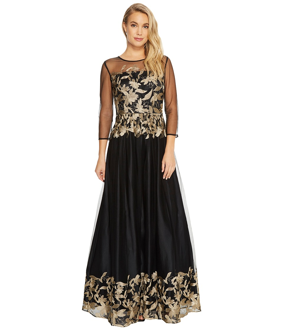 Tahari by ASL - Embroidered Mesh Ballgown (Black/Gold) Womens Dress
