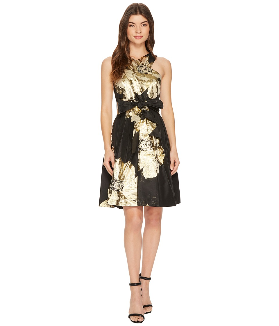 Tahari by ASL Floral Wrap-Bodice Party Dress (Black/Gold) Women