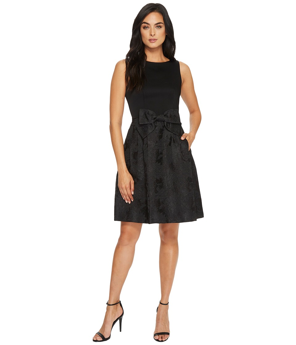 Tahari by ASL Party Dress with Bow At Waist (Black) Women