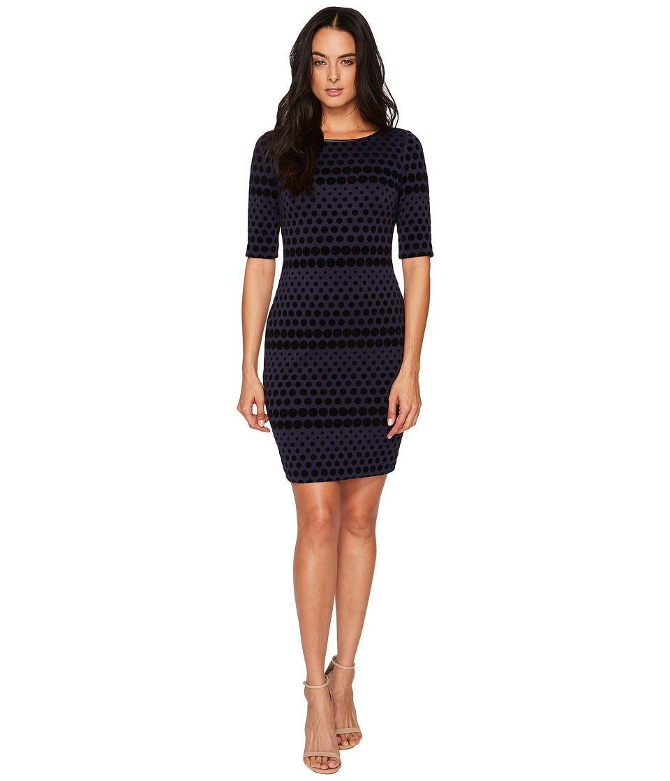 Tahari by ASL - Flocket Velvet Dotted Sheath (Navy/Black) Womens Dress