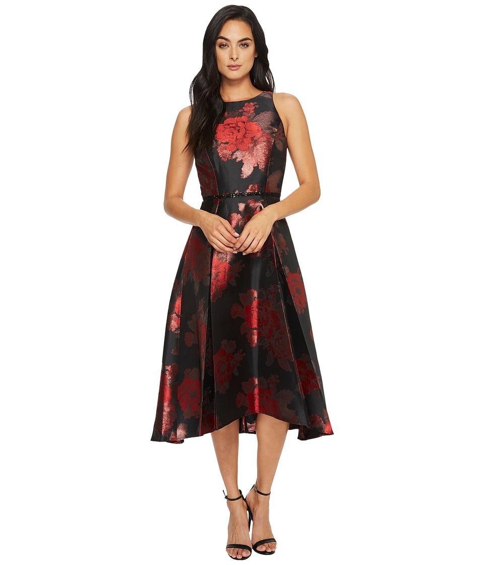 Tahari by ASL Floral Jacquard Tea-Length Dress (Black/Claret/Bronze) Women
