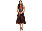 Tahari by ASL Floral Jacquard Tea-Length Dress