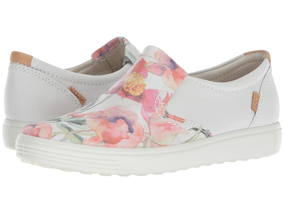 ECCO - Soft 7 Slip-On II (White Floral Print/White/Powder Cow Leather) Womens Slip on  Shoes