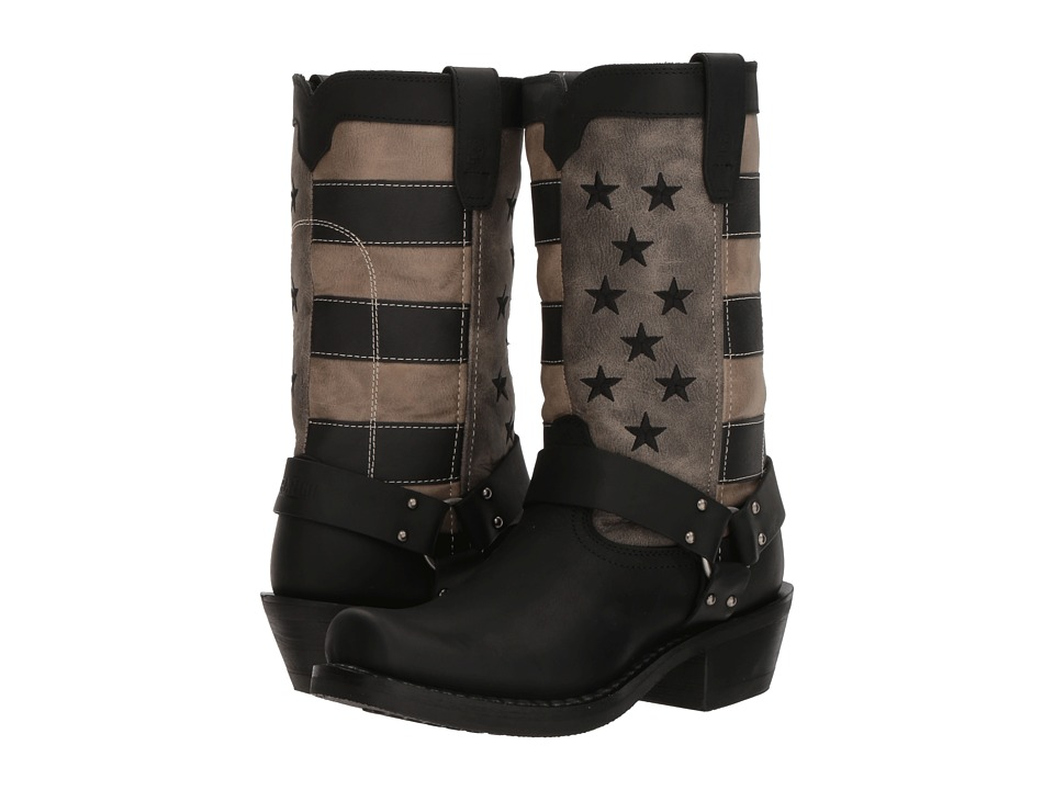 Durango Flag Harness Boot 11 (Black/Charcoal/Grey) Cowboy Boots