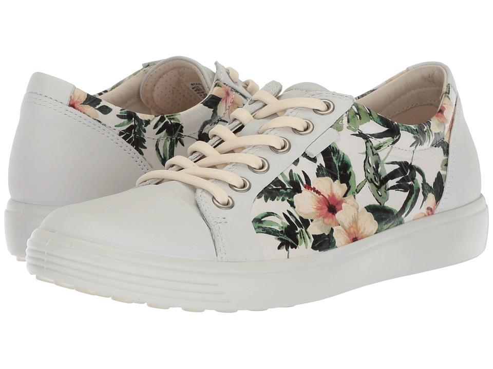 ECCO Soft 7 Sneaker (White/Flower Print)