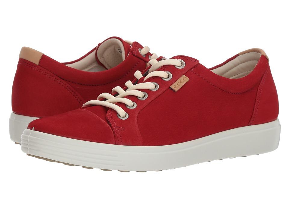 ECCO Soft 7 Sneaker (Chili Red Cow Nubuck)