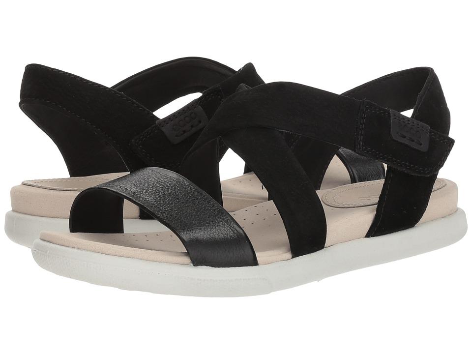 ECCO Damara Crisscross Sandal (Black/Black Leather/Cow Nubuck) Women