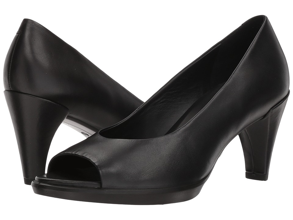 ECCO - Shape 55 Peep Toe Sleek (Black Calf Leather) High Heels