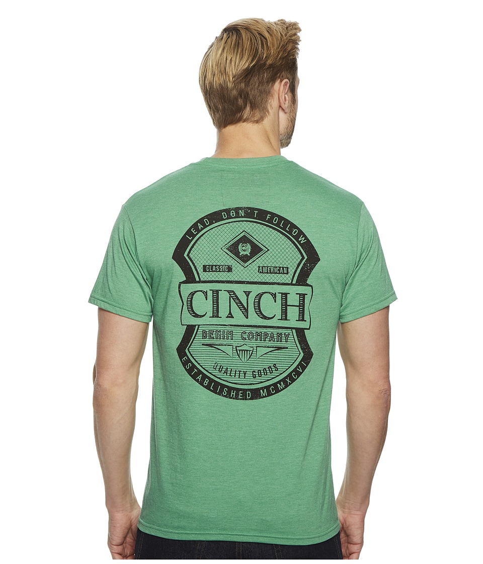 CINCH Short Sleeve Jersey Tee w/ Pocket (Green) Men's T S...