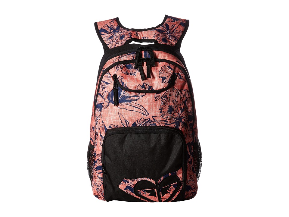 Roxy Shadow Swell Backpack (Living Coral Kauai Floral) Backpack Bags