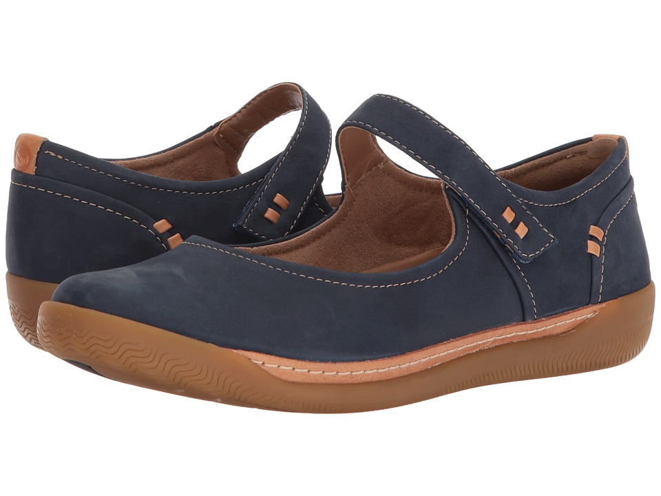 Clarks - Un Haven Strap (Navy Nubuck) Womens Shoes