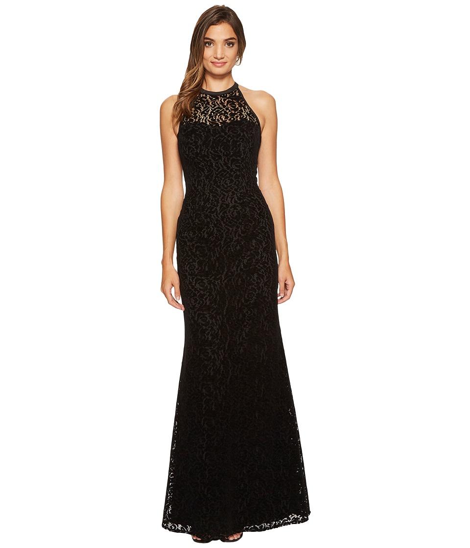 Nicole Miller Flocked Velvet Laser Cut Halter Gown (Black) Women