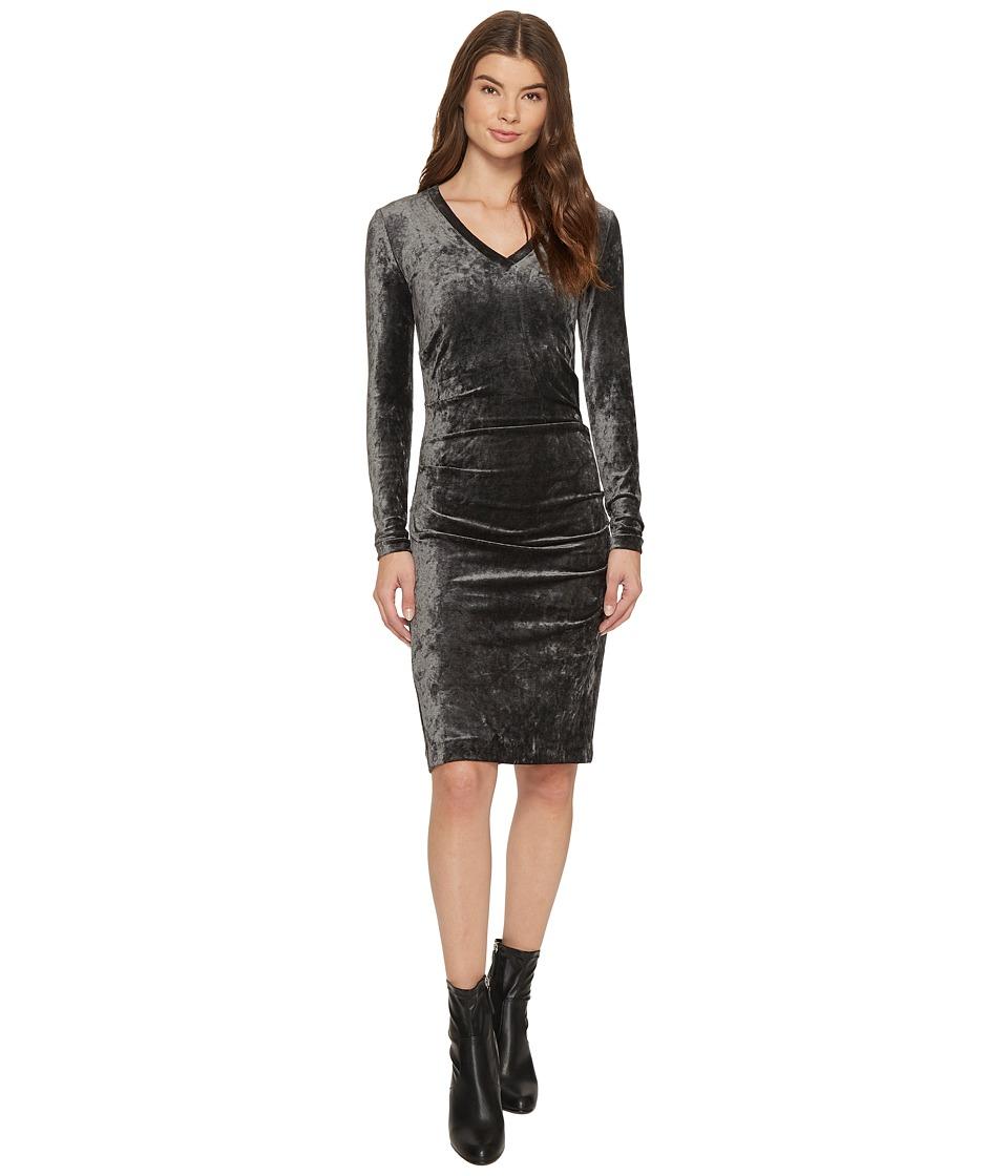 Nicole Miller Milky Velvet Long Sleeve Dress (Grey) Women