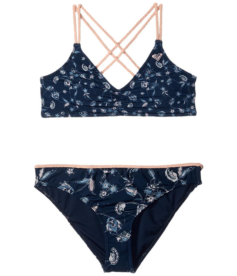 Roxy Kids - Beach Days Athletic Tri Set (Big Kids) (Dress Blues/Beyond Way) Girls Swimwear Sets