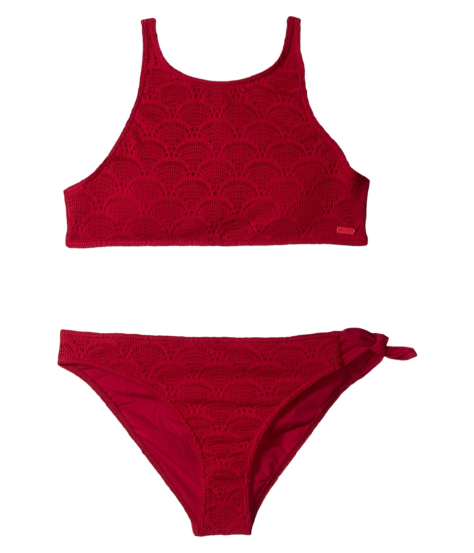 Roxy Kids - Helloo Summer Crop Top Set (Big Kids) (Vivacious) Girls Swimwear Sets