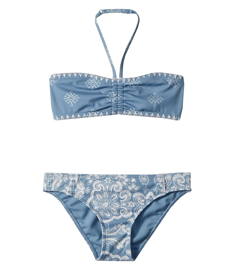 Roxy Kids - Nautical Summer Bandeau Set (Big Kids) (Blue Shadow/Bandana Kids) Girls Swimwear Sets
