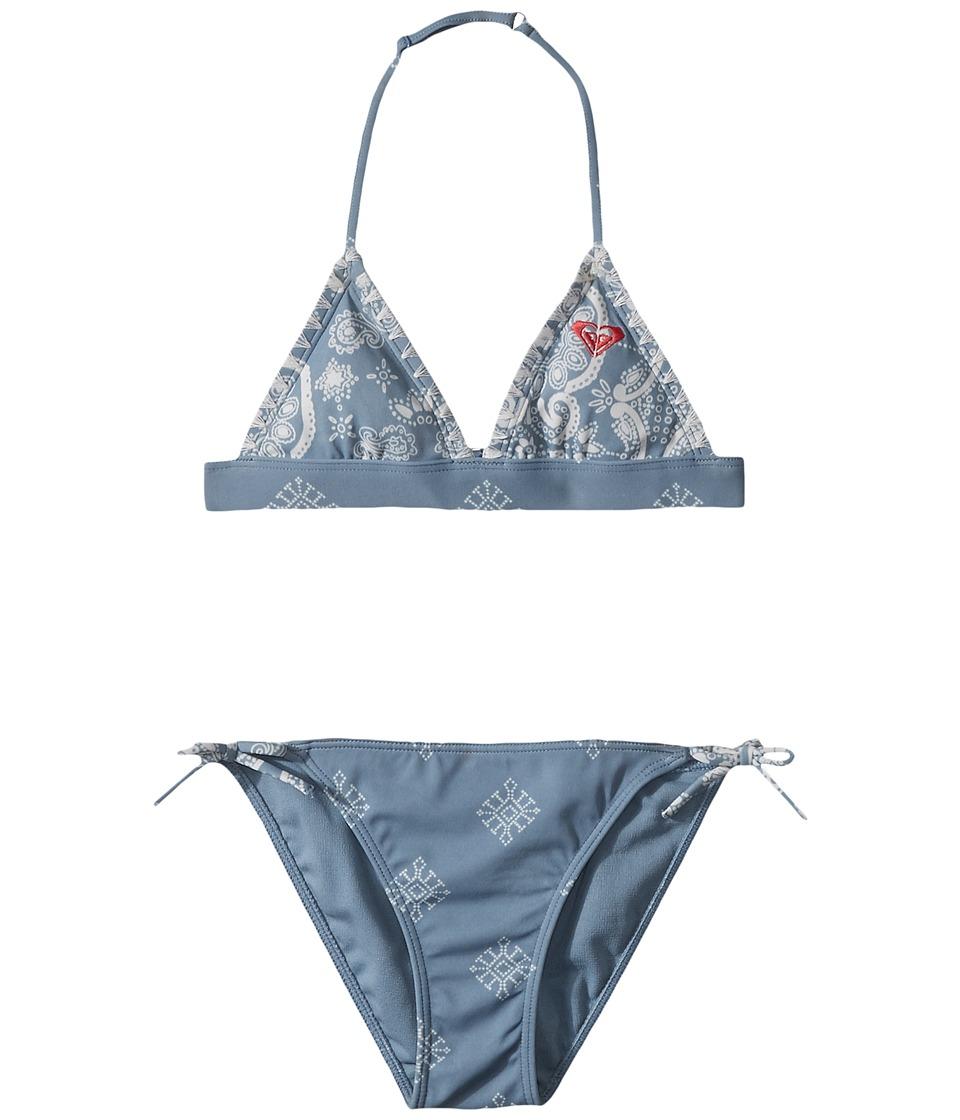Roxy Kids - Nautical Summer Fixed Tri Set (Big Kids) (Blue Shadow/Bandana Kids) Girls Swimwear Sets