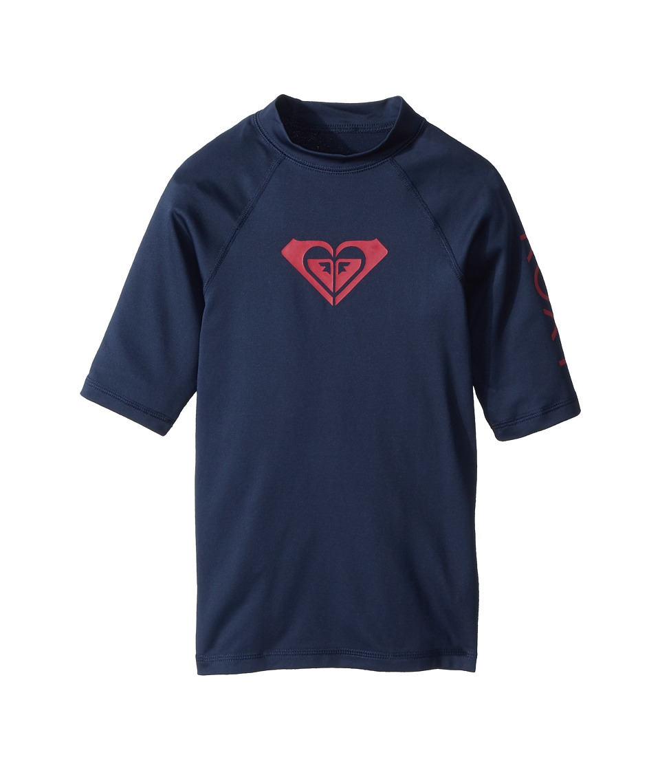 Roxy Kids - Whole Hearted Short Sleeve Rashguard (Big Kids) (Dress Blues) Girls Swimwear