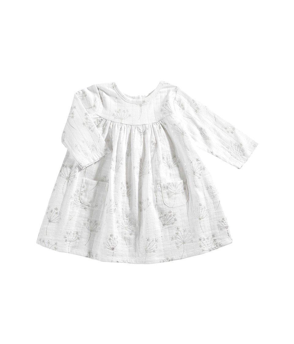 aden + anais - Long Sleeve Pocket Dress (Infant) (Metallic Silver Dandelion) Girls Dress