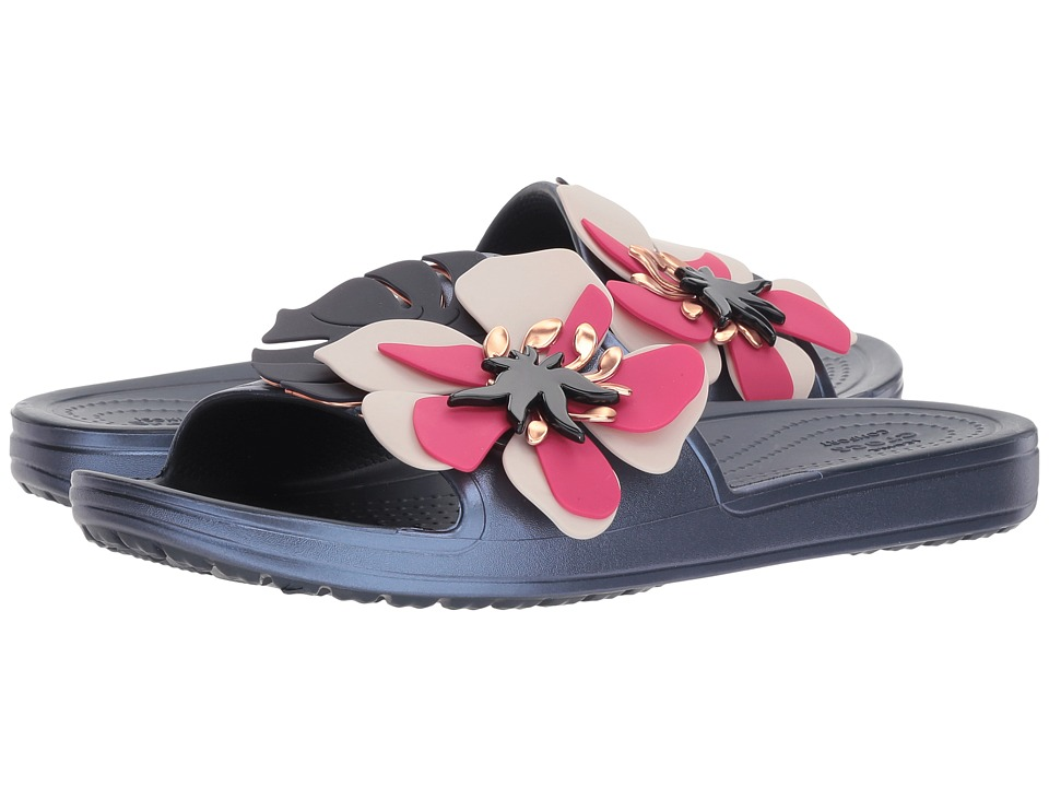 Crocs - Crocs Sloane Botanical Floral Slide (Navy) Womens  Shoes