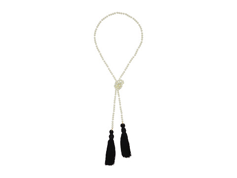 Kenneth Jay Lane White Pearl Necklace w/ Black Tassels - White Pearl/Black