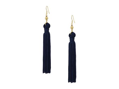 Kenneth Jay Lane Polished Gold Bead and Navy Tassel Fishhook Earrings - Navy