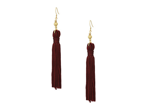 Kenneth Jay Lane Polished Gold Bead and Maroon Tassel Fishhook Earrings - Maroon