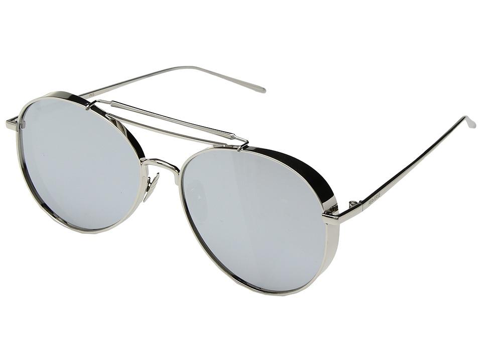 PERVERSE Sunglasses Solid Platinum (Glossy Silver/Smoky Mirrored Lens) Fashion Sunglasses