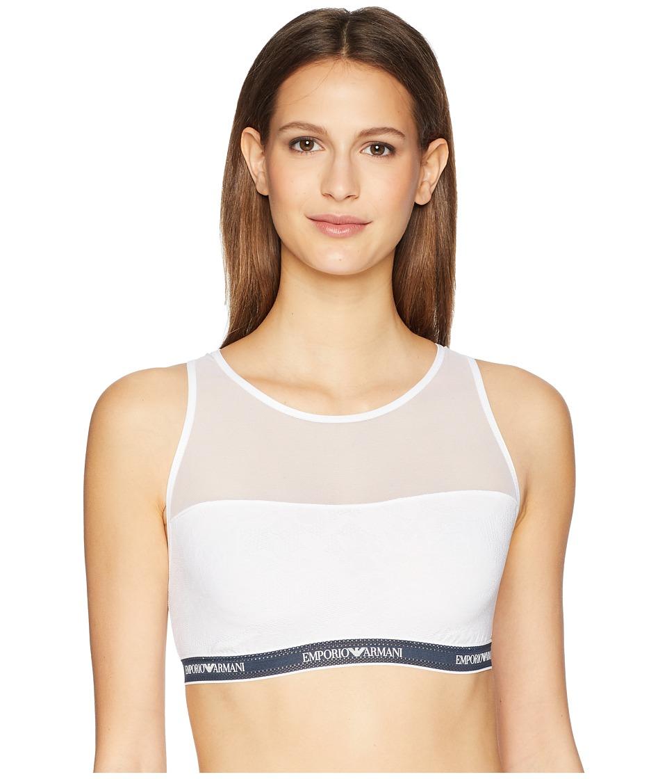 Emporio Armani Sporty Lace Bralette Bra (White) Women