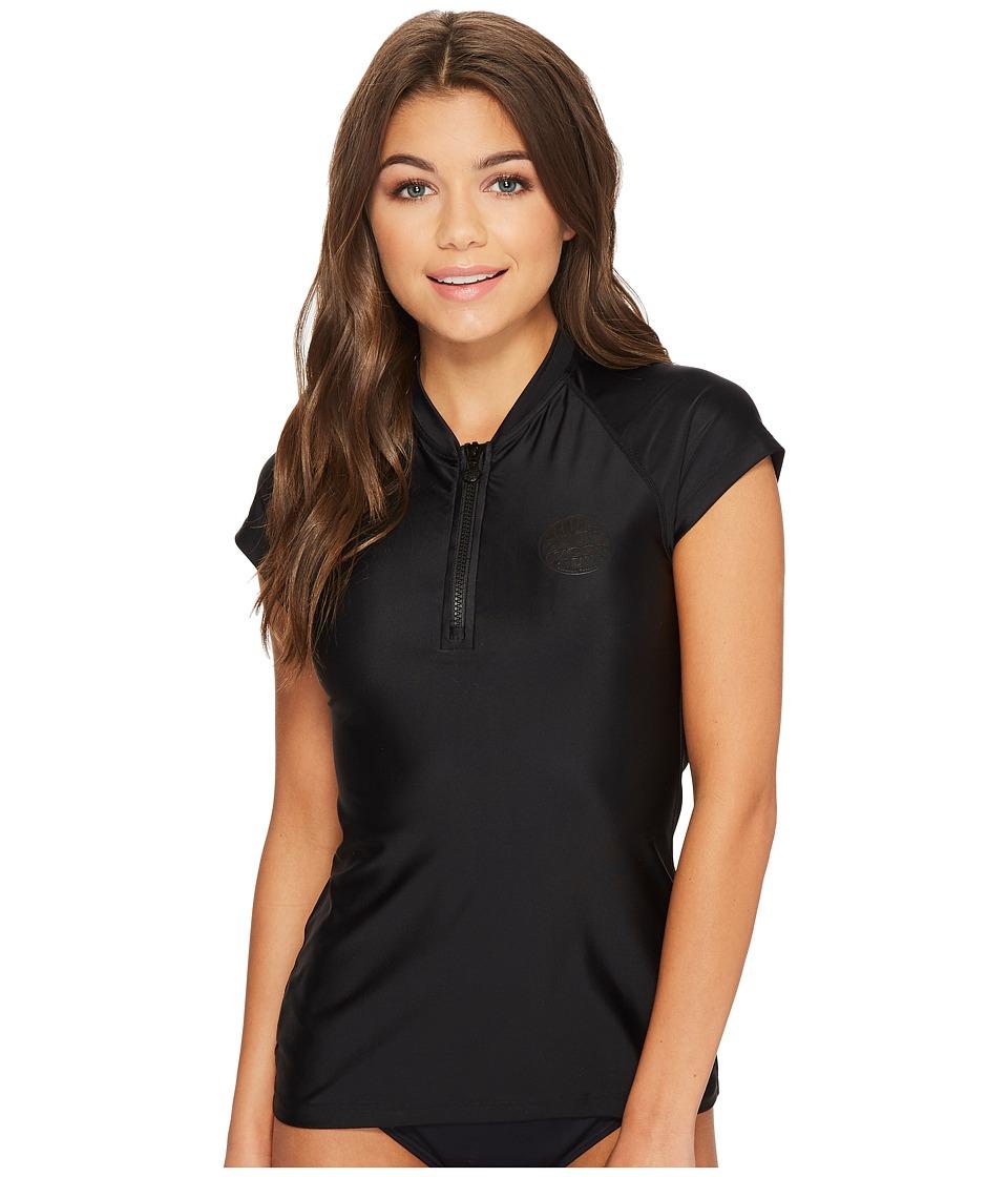 Rip Curl Belle Cap Sleeve 1/2 Zip UV Tee (Black)