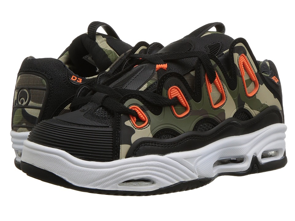 Osiris - D3 2001 (Black/Orange/Camo) Mens Skate Shoes