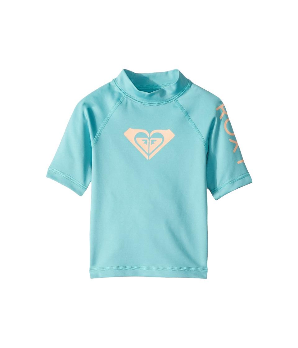 Roxy Kids Whole Hearted Short Sleeve Rashguard (Toddler/Little Kids/Big Kids) (Aquarelle) Girl